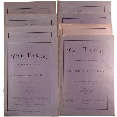 The Table: A Monthly Publication Devoted to the Refinements of the Table - January, February, March, April, May, June, July, and August.